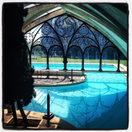 This pool, from my favorite place on earth, hotel Landa in Burgos, Spain