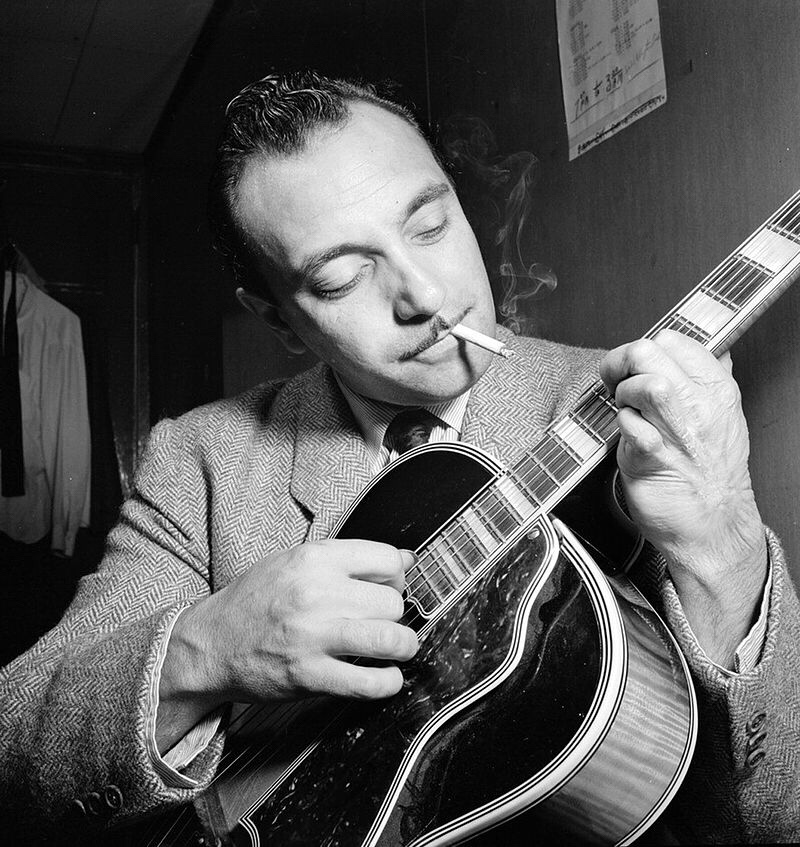 Infamous picture of three fingered Roma guitarist, Django Reinhardt